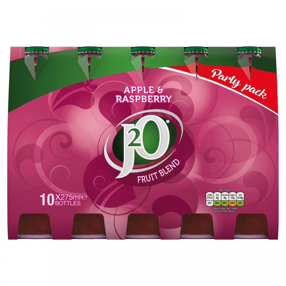 J2O Apple and Raspberry Still Juice Drink 10 x 275ml