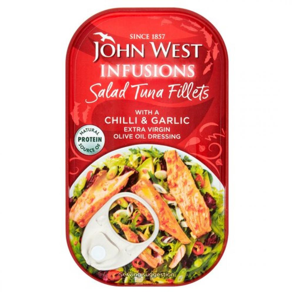 John West Infusions Salad Tuna Fillets With Chilli and Garlic 115g