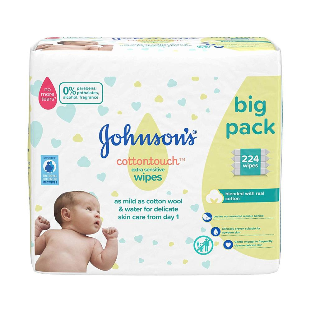 Johnsons Cotton Touch Extra Sensitive Wipes 224