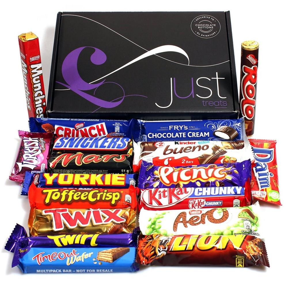 Just Treats Cosmic Chocolate Treasure Gift Jam Packed with the Best Ever Retro Sweets