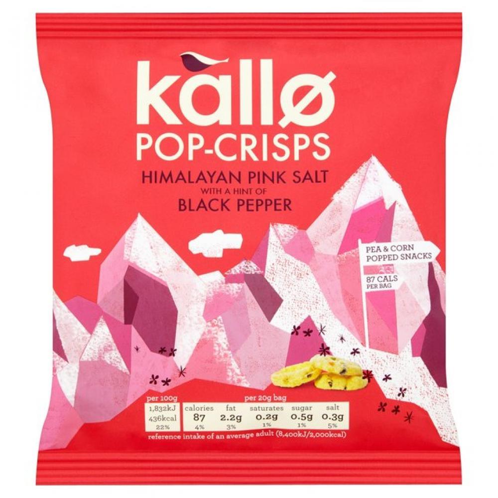 Kallo Himalayan Pink Salt and Black Pepper Pop Crisps 20g