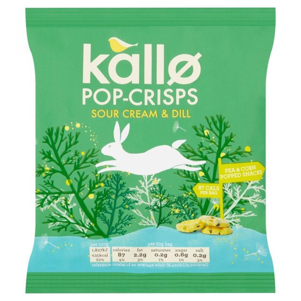 Kallo Sour Cream and Dill Pop Crisps 20g