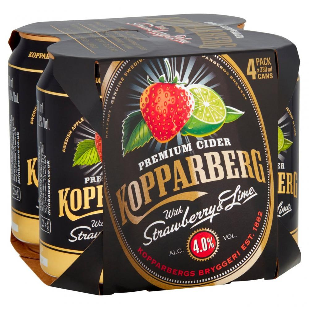 Kopparberg Strawberry and Lime Cider Can 4 x 330ml