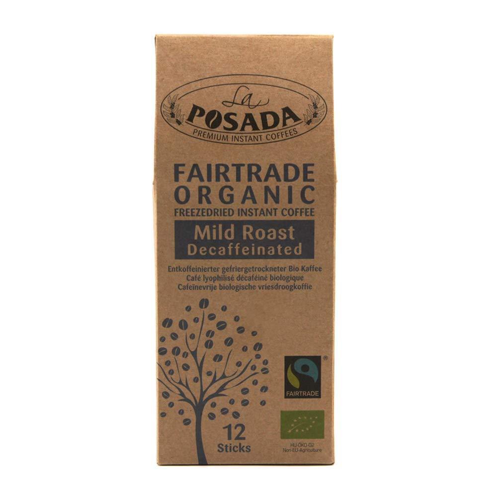 La Posada Mild Roast Decaf Instant Coffee with Arabica Beans 12 Sticks