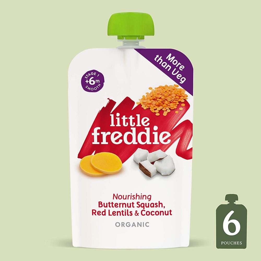 Little Freddie Organic Baby Food Stage 1 Butternut Squash Red Lentil and Coconut 120g