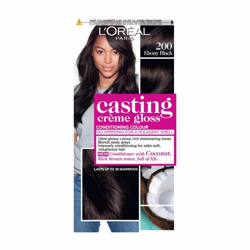 Loreal Paris Casting Creme Gloss Black Semi-Permanent Hair Dye 200 Ebony Black