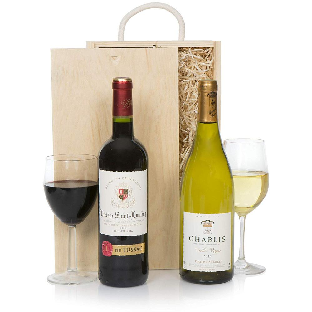 Luxury Fine Wine Selection Duo - Grand Cru St Emilion Red Wine and Chablis White In Wooden Presentation Gift Box 2 x 750 ml