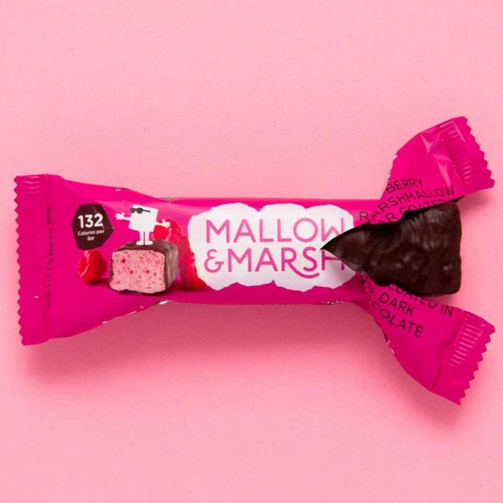 Mallow and Marsh Raspberry Marshmallow Bar Coated in 70 Dark Chocolate 35 g