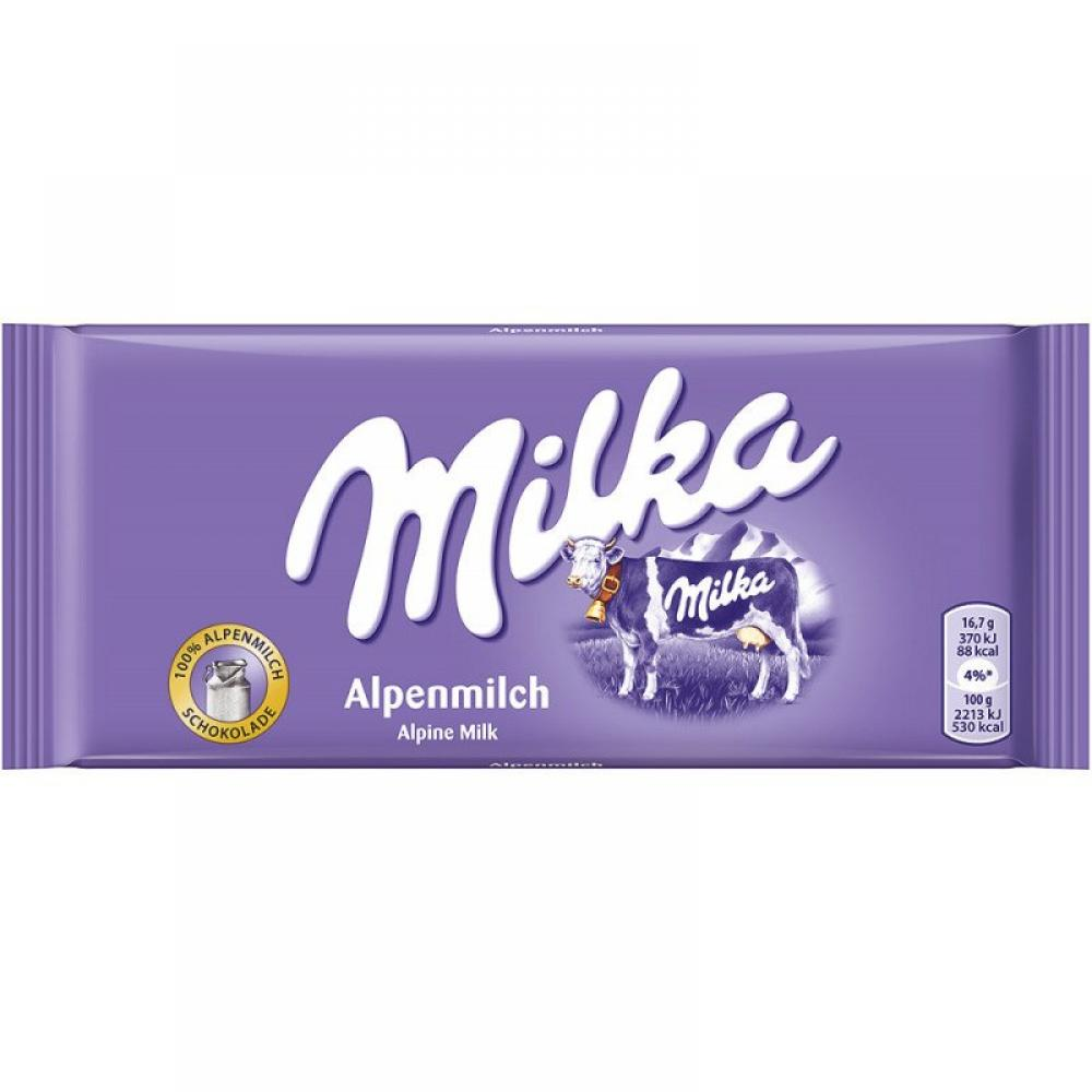 Milka Alpine Milk Chocolate Bar 100 G