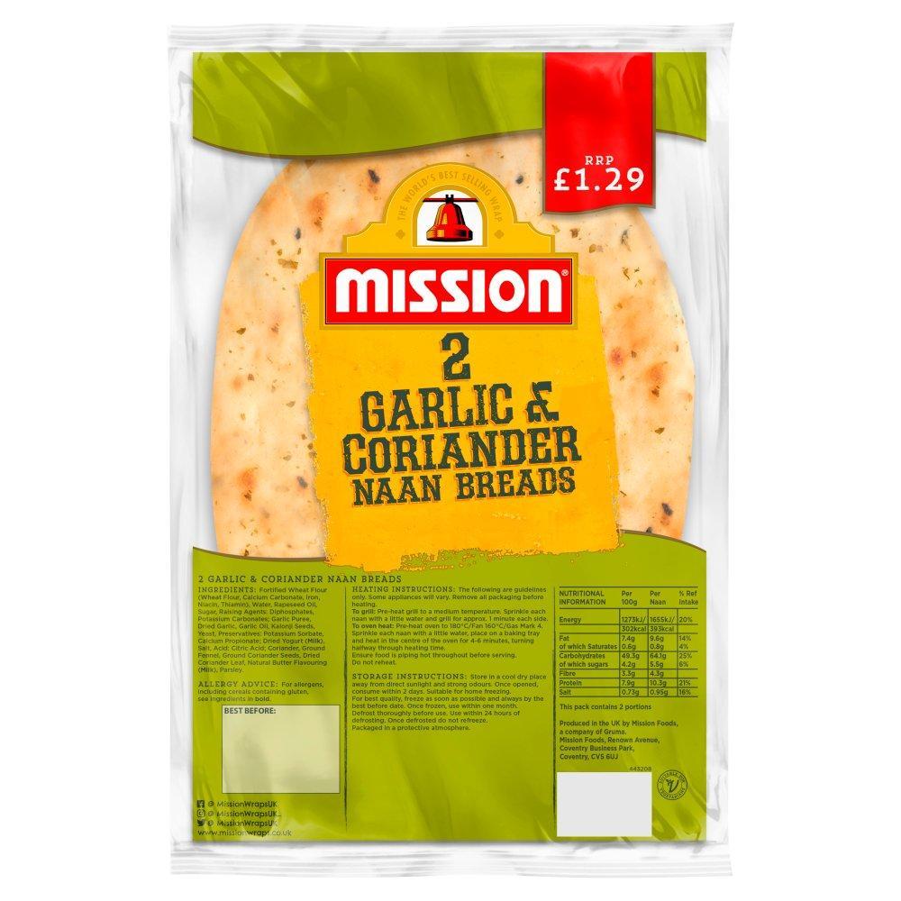Mission 2 Garlic and Coriander Naan Breads