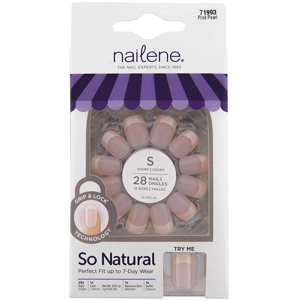 Nailene So Natural Perfect Fit Nails with Tabs and Glue Short Pearl French 28 Nails