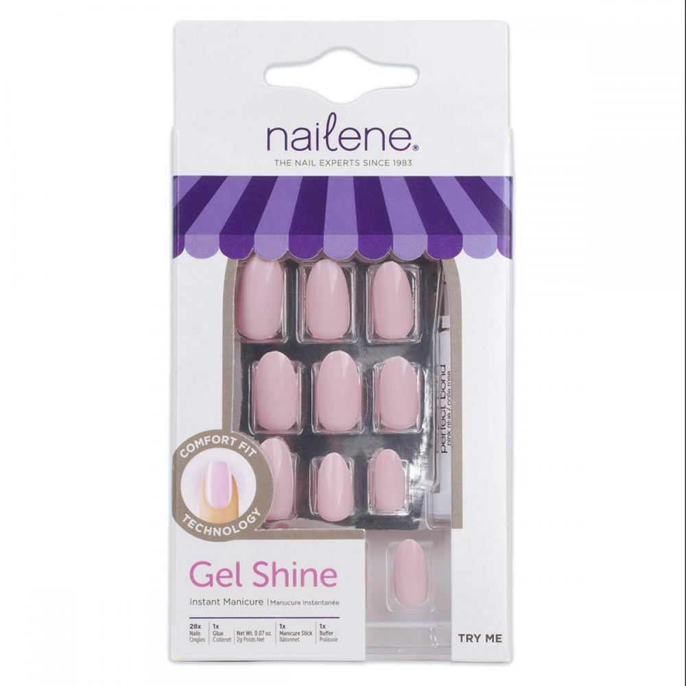 Nailene Stiletto Pink Gel Shine 28x Nails