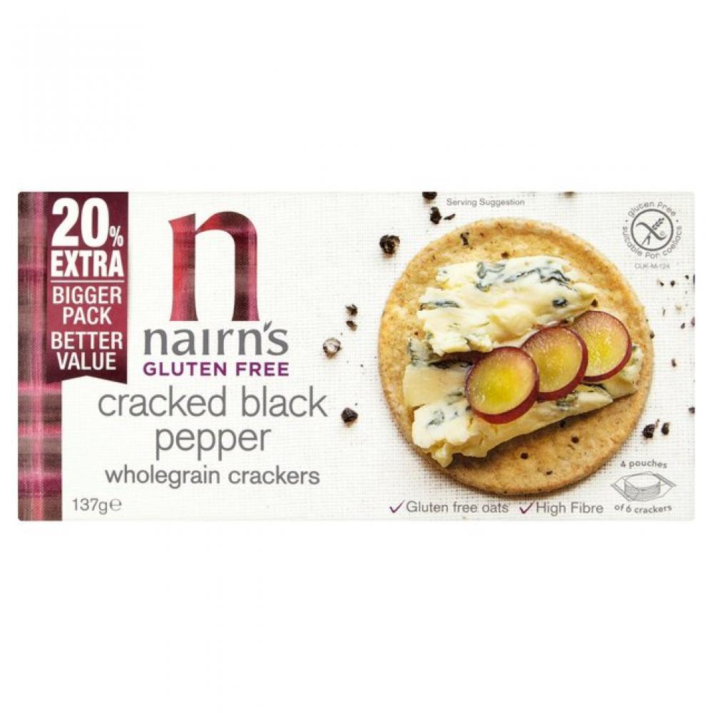 Nairns Gluten Free Cracked Black Pepper Wholegrain Crackers 137g