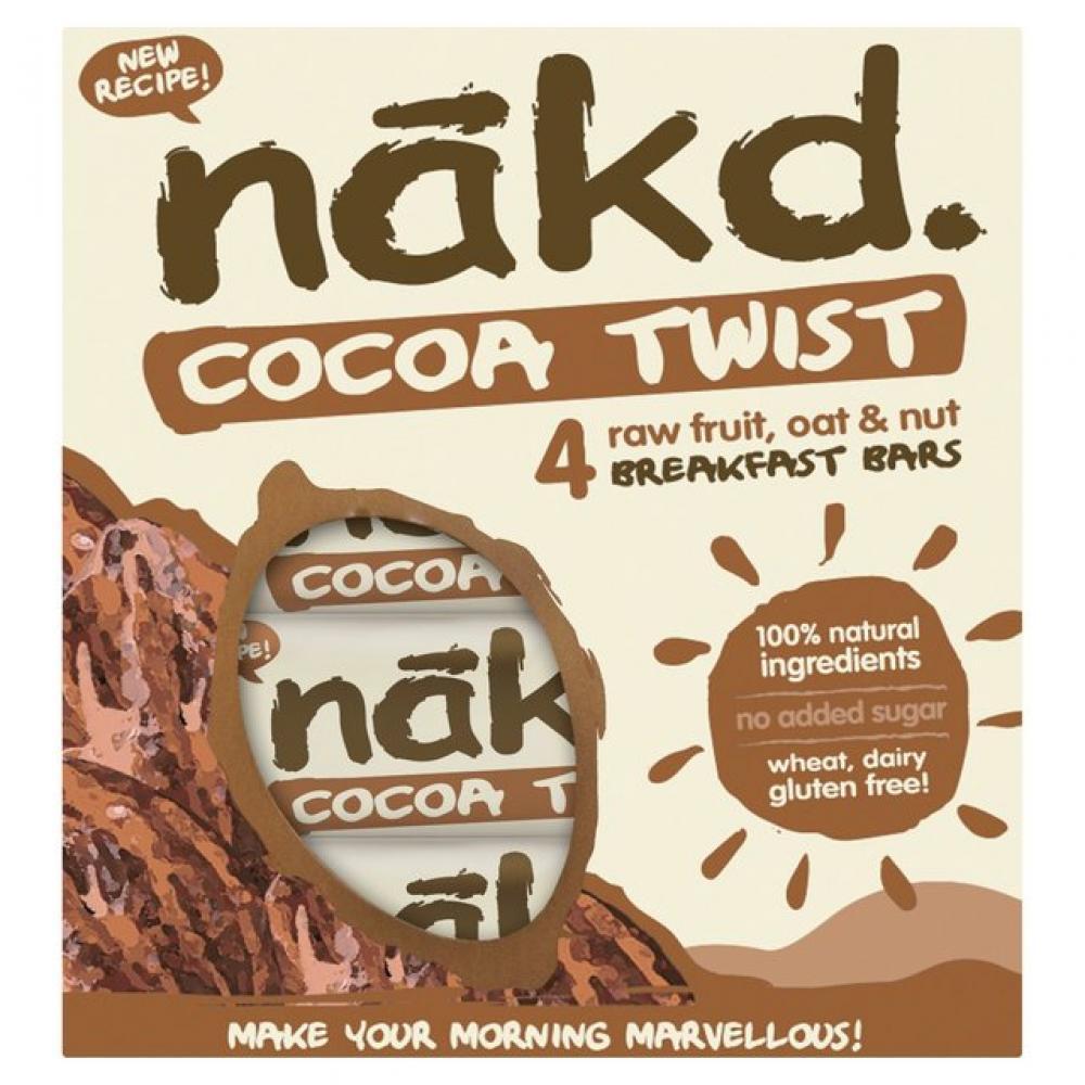 Nakd Cocoa Twist 4 Raw Fruit Oat and Nut Breakfast Bars 4 x 30 g