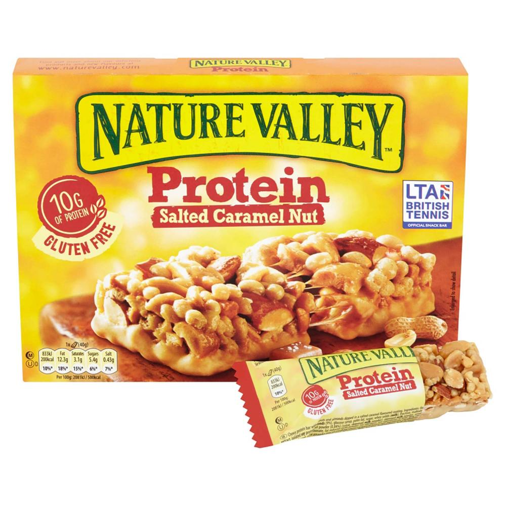 Nature Valley Protein Salted Caramel Nut Gluten Free Cereal Bars 4x40g
