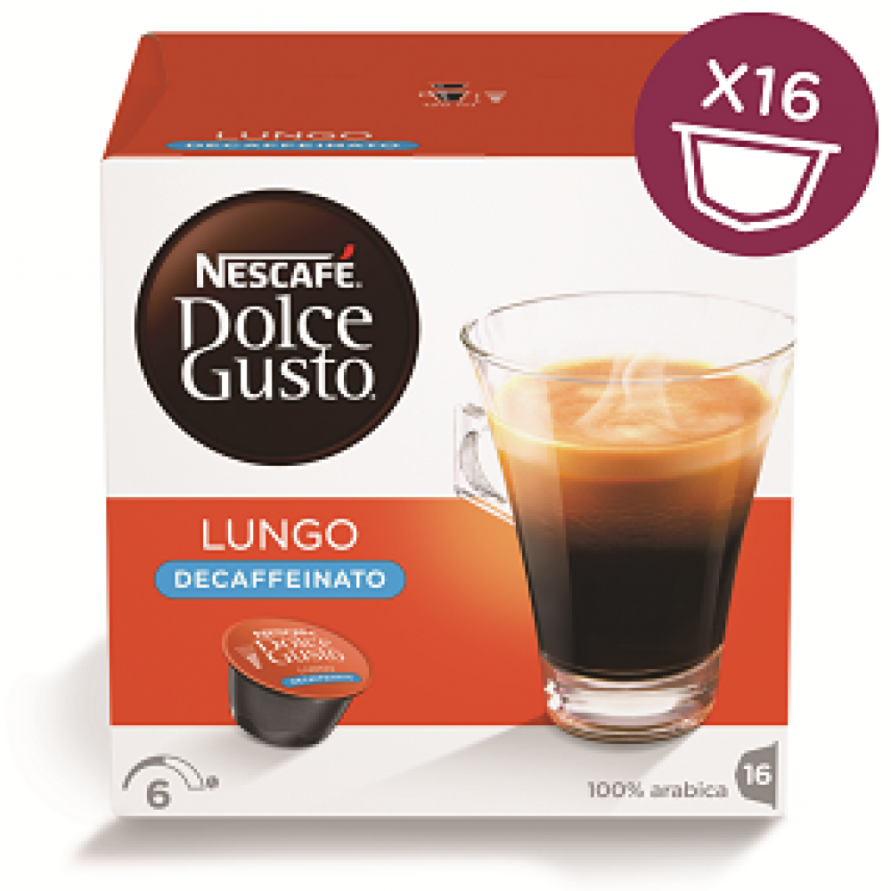 Nescafe Dolce Gusto Lungo Decaffeinated 16 Capsules 112g