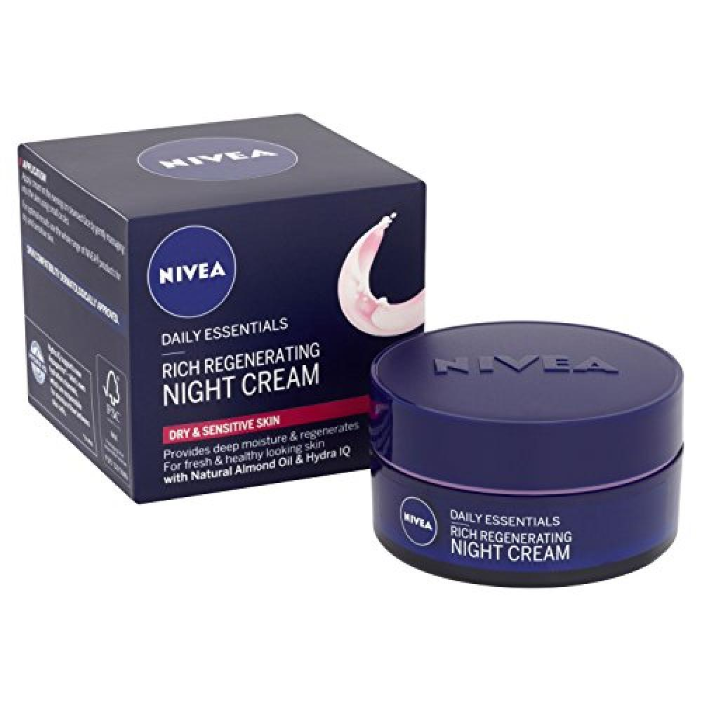 Nivea Daily Essentials Rich Regenerating Face Night Cream Dry and Sensitive Skin, 50 ml