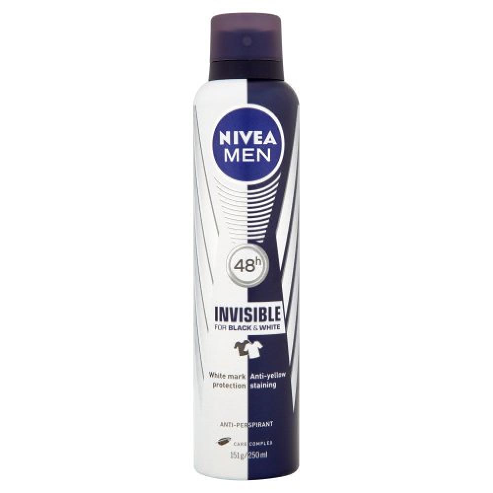 Nivea Men Invisible for Black and White 48 Hours Anti-Perspirant Deodorant Spray 250 ml