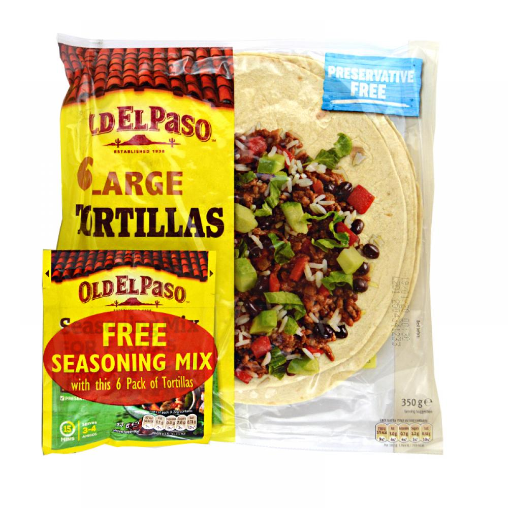 Old El Paso 6 Large Tortillas With Seasoning Mix