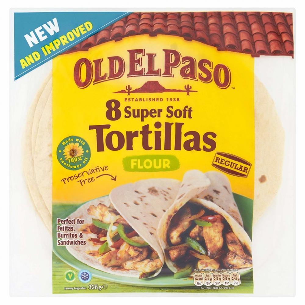 Old El Paso Regular Super Soft Flour Tortillas 326 g