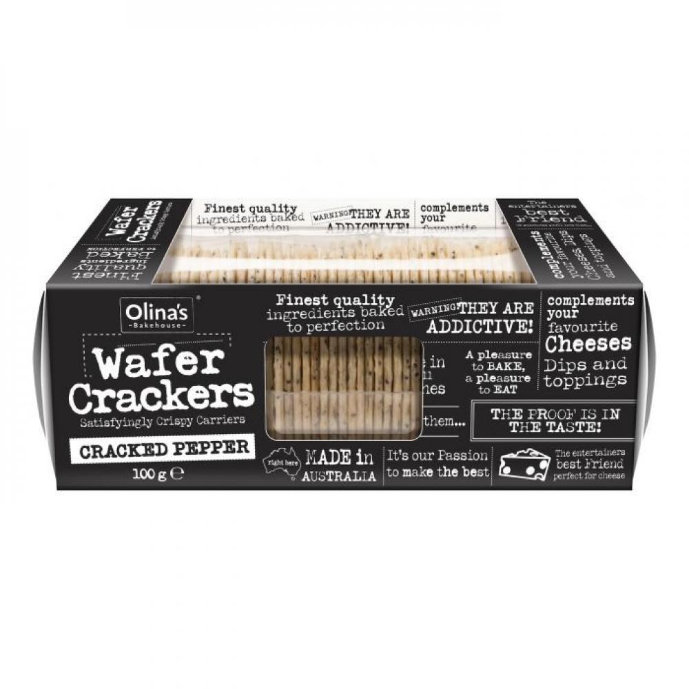 Olinas Bakehouse Wafer Crackers Cracked Pepper 100g