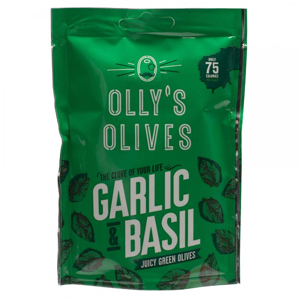 SALE  Ollys Olives Garlic and Basil 50g