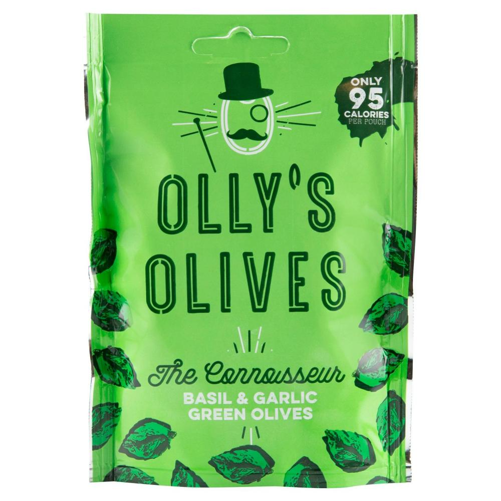 Ollys Olives The Connoisseur Basil and Garlic Green Olives 50g