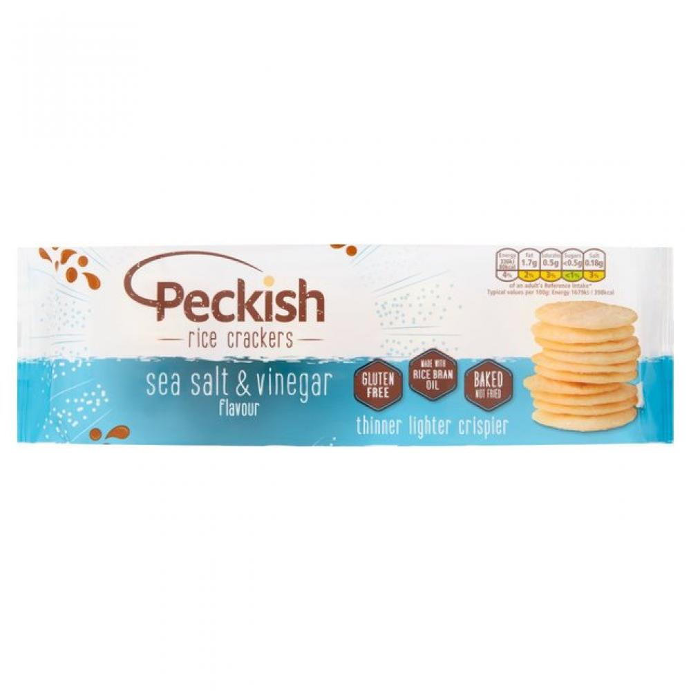 Peckish Salt and Vinegar Rice Crackers Tray 100g