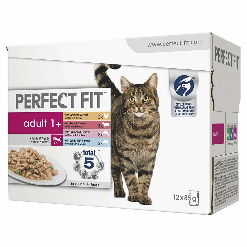 Perfect Fit Cat Pouches Adult 1 Mixed 12 x 85 g Damaged Box