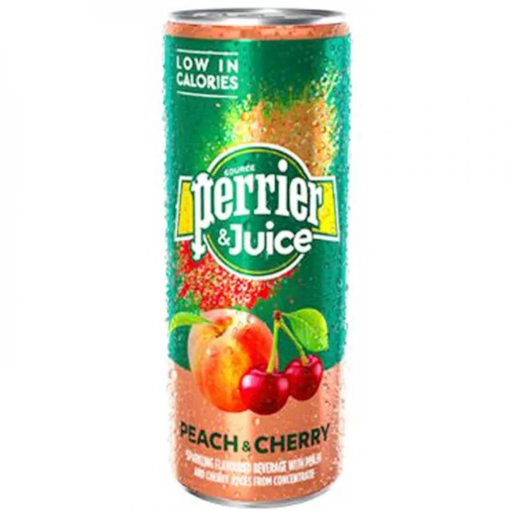 Perrier and Juice Sparkling Peach and Cherry Water 250ml