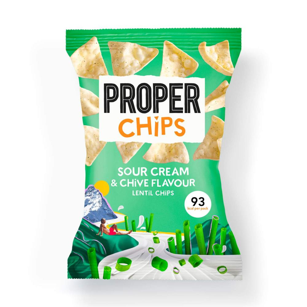 Propercorn Lentil Chips Flavoured with Sour Cream and Chives 20g