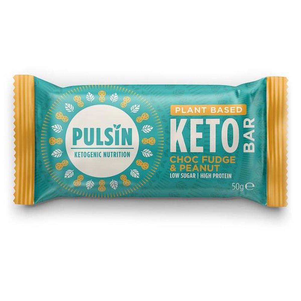 Pulsin Choc Fudge and Peanut Keto Bar 50g