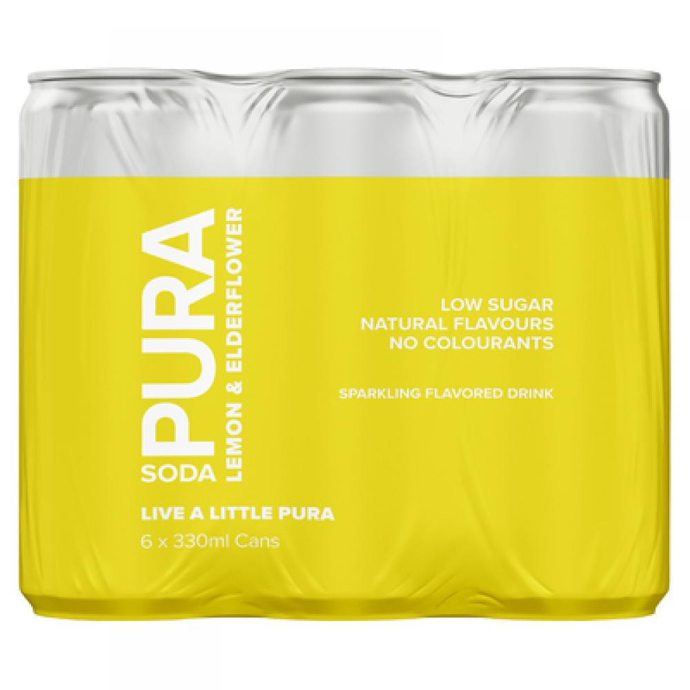 Pura Soda Lemon and Elderflower 6 x 330ml