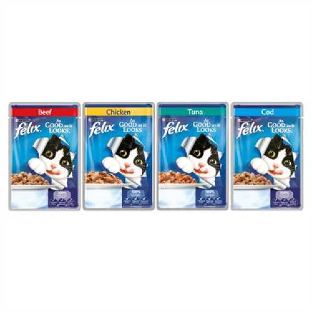 Purina Felix As Good As It Looks Mixed Variety Senior Cat Food 100 g Lucky Dip