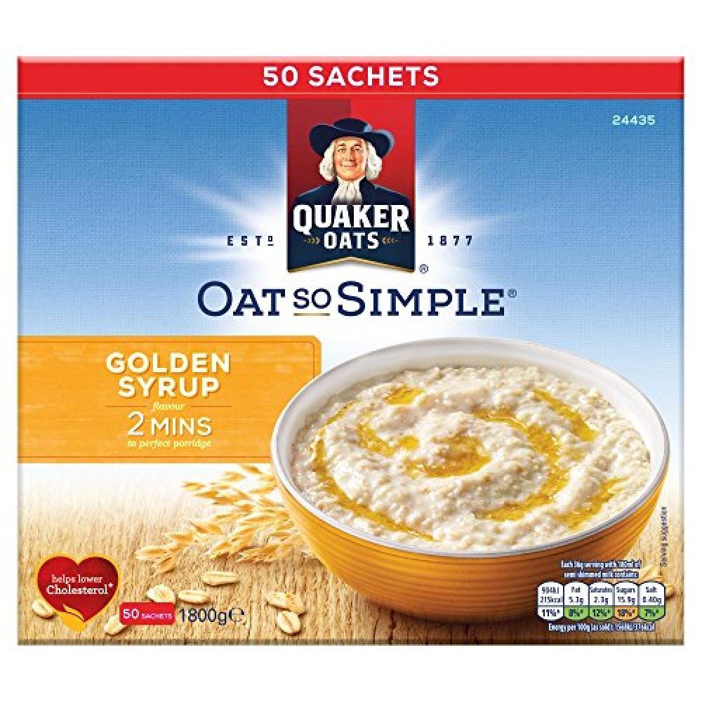 Quaker Oats Oat So Simple Golden Syrup Porridge (Pack of 50) Damaged Box