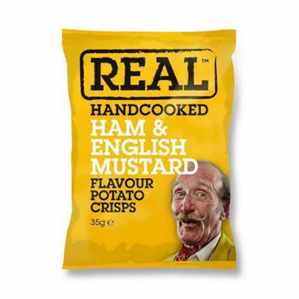 Real Handcooked Ham and English Mustard Flavour Crisps 35g