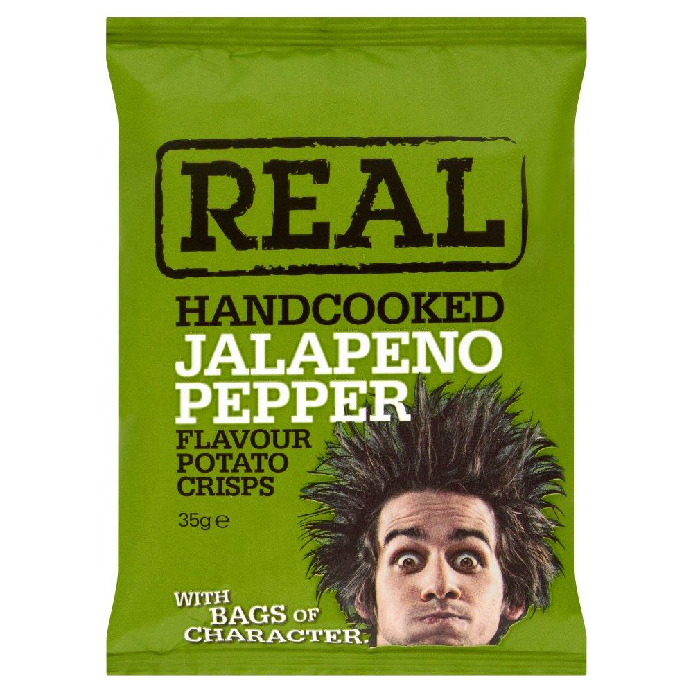 Real Handcooked Jalapeno Pepper Flavour Crisps 35g