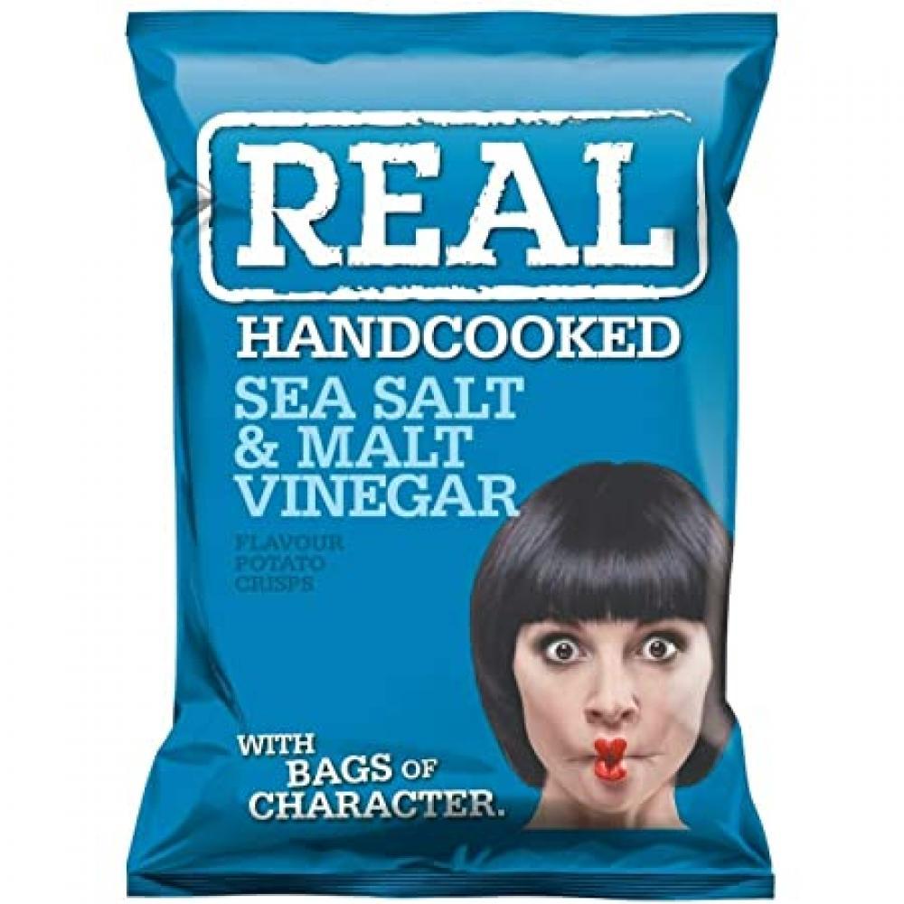 Real Handcooked Sea Salt and Malt Vinegar Flavour Crisps 35g