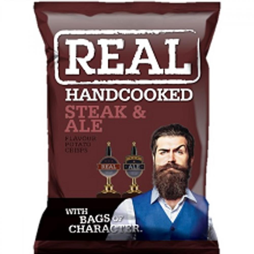 Real Handcooked Steak and Ale Flavour Crisps 35g