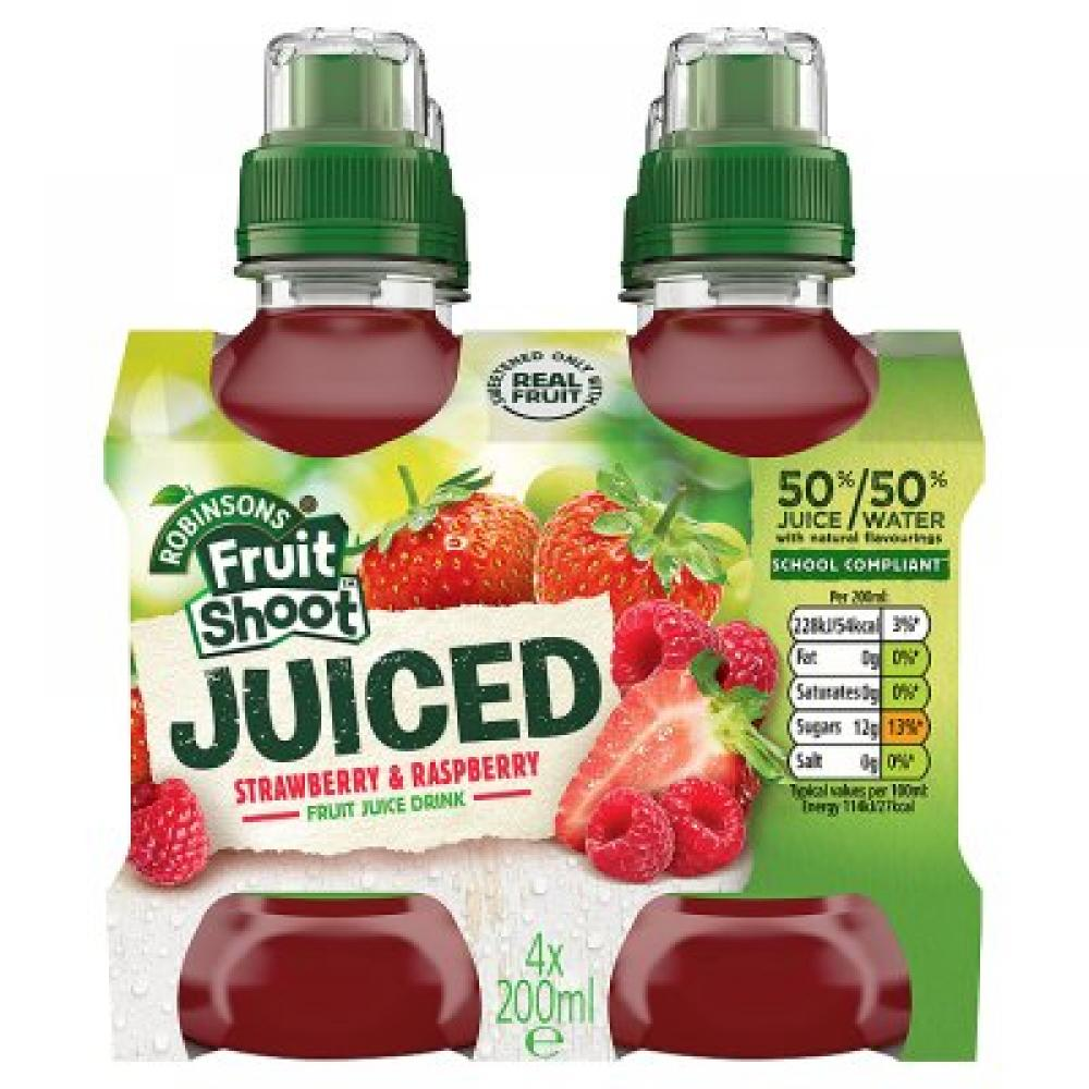 Robinsons Fruit Shoot Juiced Strawberry and Raspberry 200ml x 4