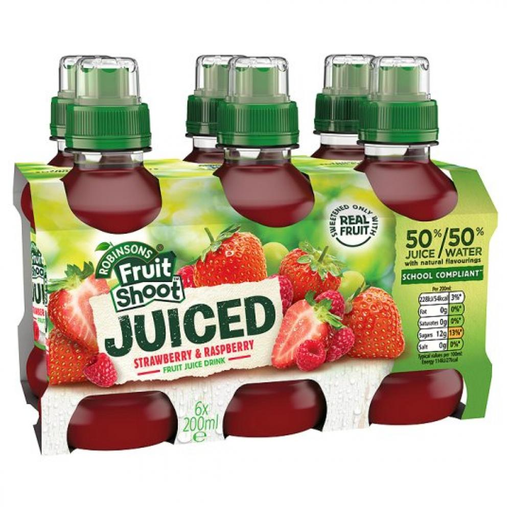 Robinsons Fruit Shoot Juiced Strawberry and Raspberry 200ml x 6