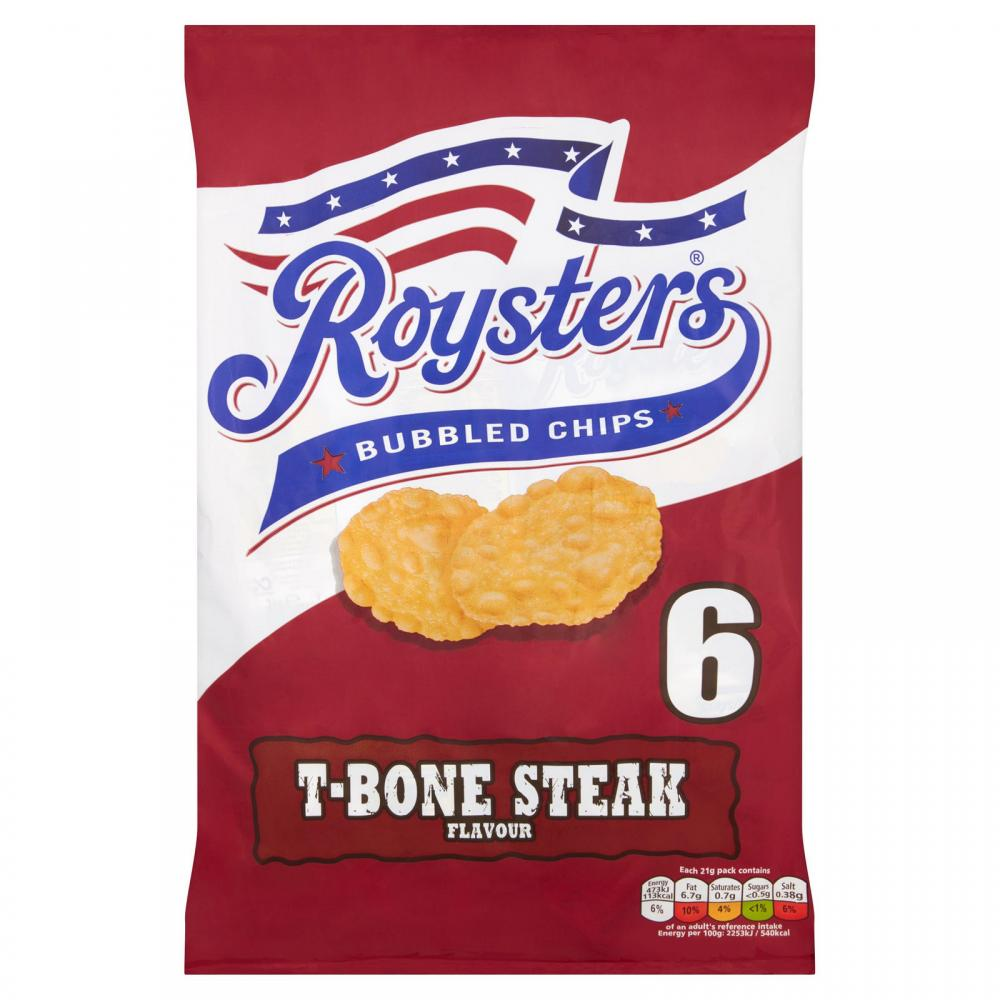 Roysters T Bone Steak Flavour Crisps 21g x 6
