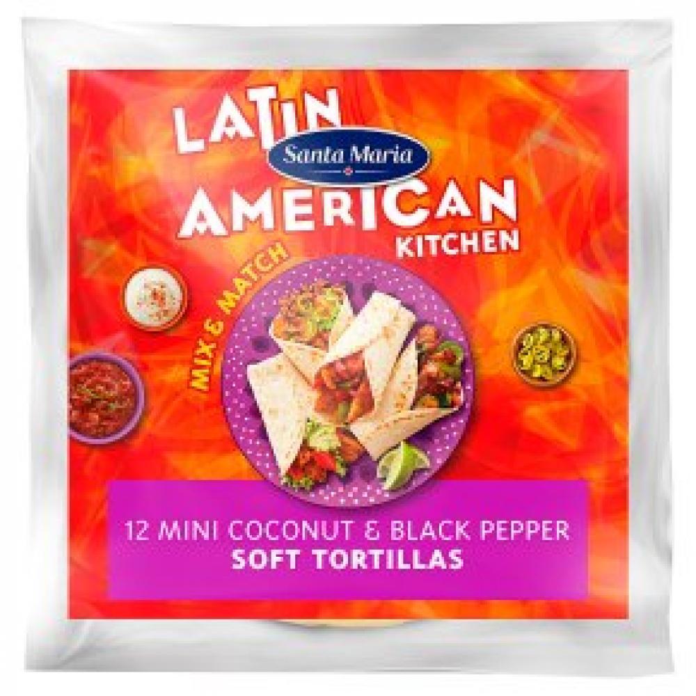 Santa Maria 12 Mini Coconut and Black Pepper Soft Tortilla