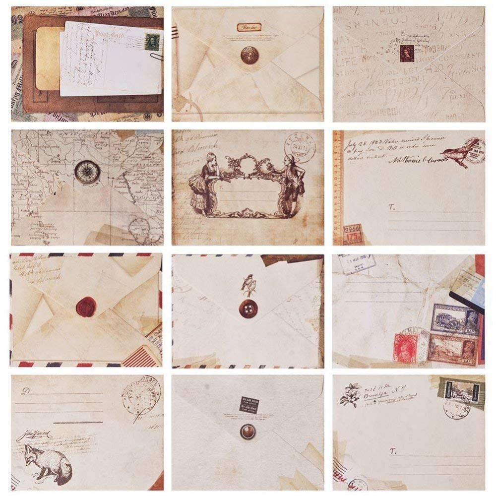 Unbranded Scrapbook Mini Vintage Envelopes 12 Pack
