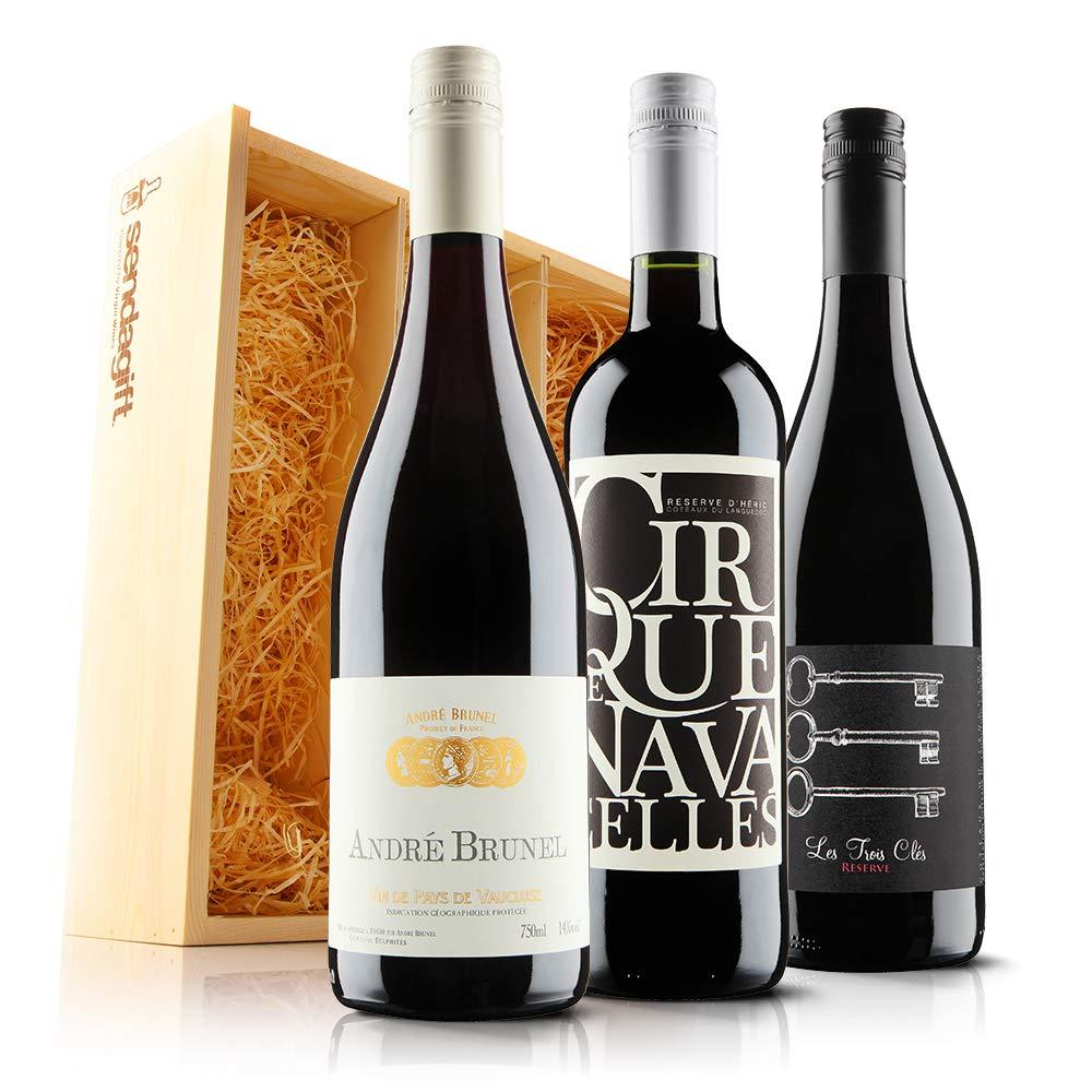 Sendagift by Virgin Wines French Red Wine Gift Trio In Wooden Gift Box 3x75cl