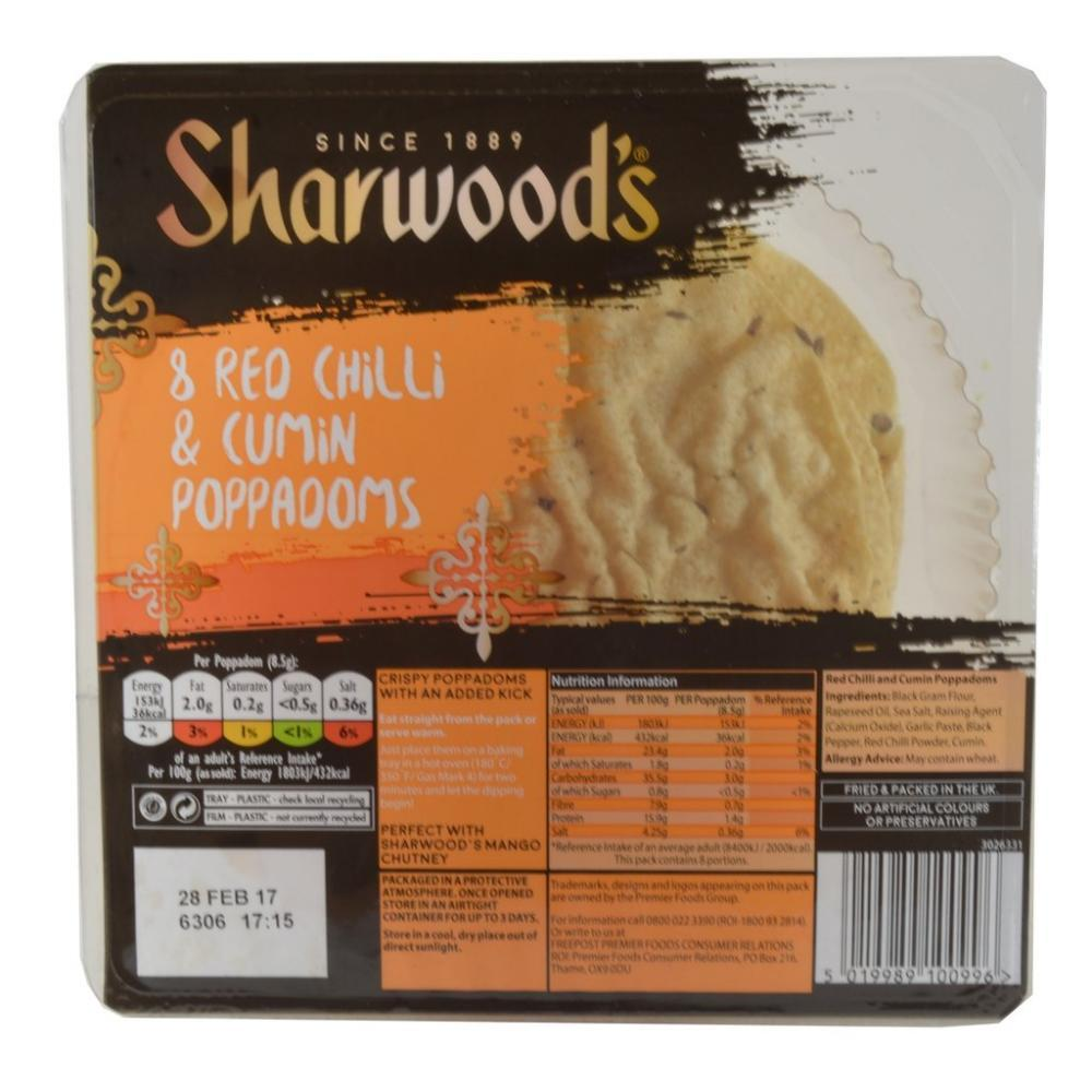 Sharwoods 8 Red Chilli and Cumin Poppadoms