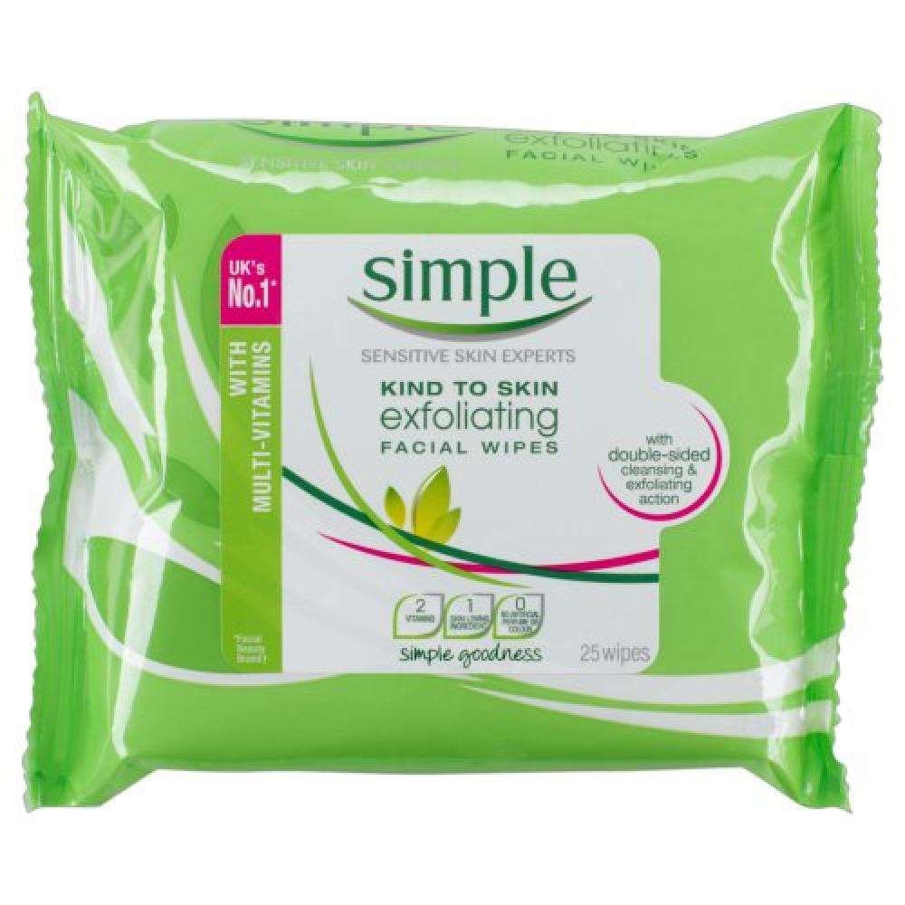 Simple Kind to Skin Exfoliating Facial Wipes 25 wipes