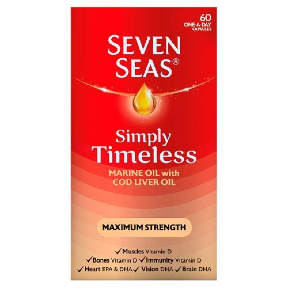 Seven Seas Simply Timeless Marine Oil with Cod Liver Oil Maximum Strength One A Day 60 Capsules