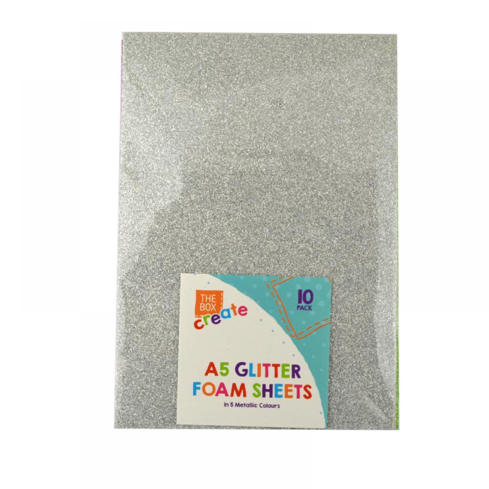The Box Create A5 Glitter Foam Sheets 10 Pack