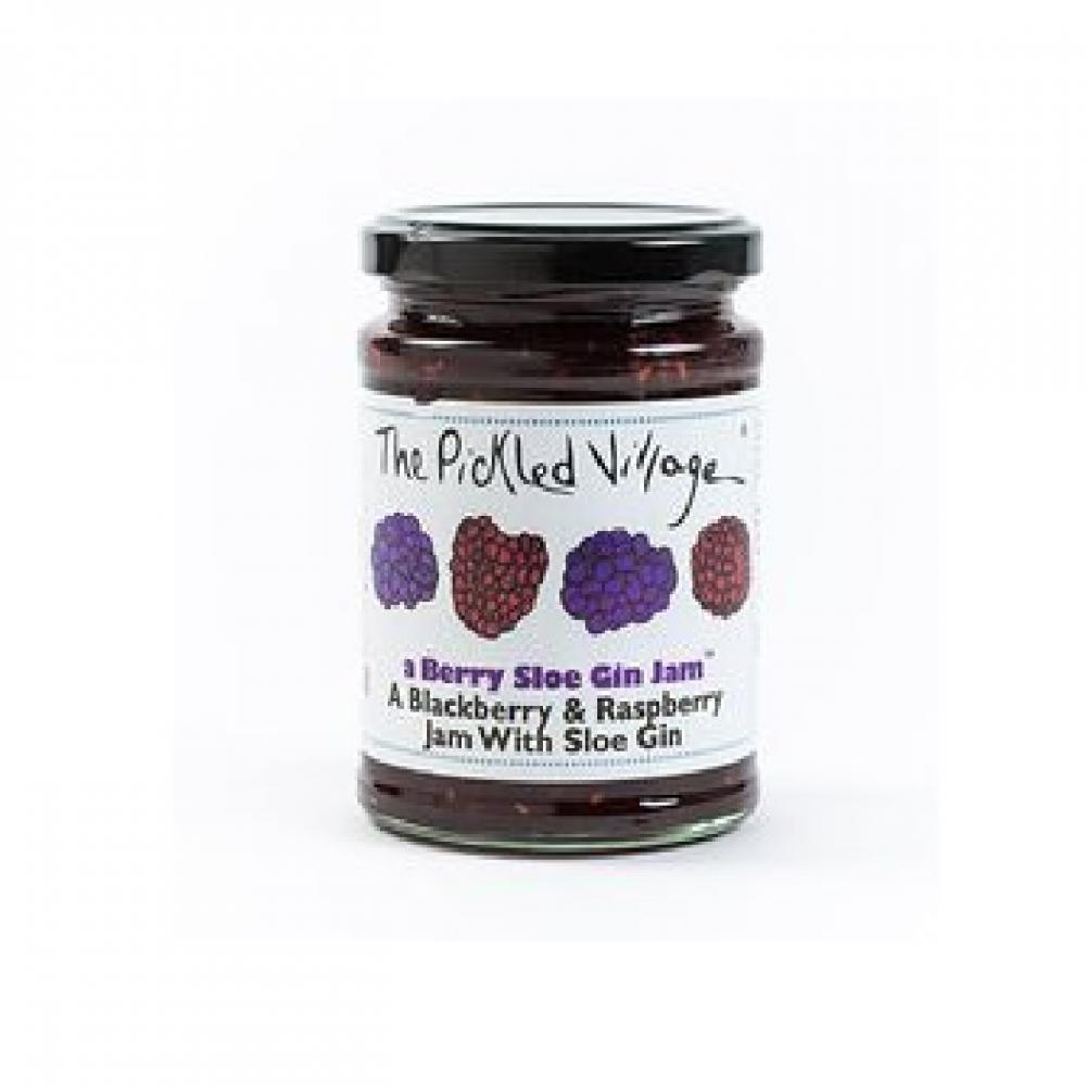 The Pickled Village Blackberry and Raspberry Jam With Sloe Gin 114g
